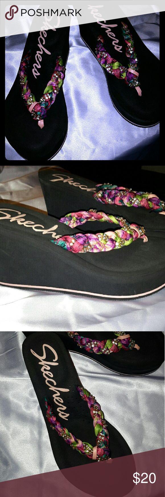 Skechers wedge sandles Super cute skechers wedge sandles  ... Never worn. . Short hubby.. lol Skechers Shoes Sandals