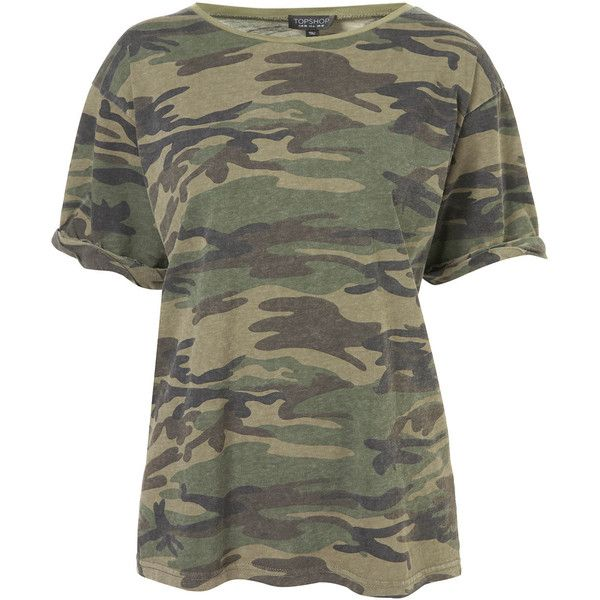 TOPSHOP Camo Tee (1.310 UYU) ❤ liked on Polyvore featuring tops, t-shirts, shirts, tees, multi, cotton tee, camo shirts, sleeve t shirt, black cotton t shirt and camouflage shirt