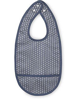 Camcam Copenhagen Bavaglino Extra-Lungo con Tasca, Sashiko Blue - Cotone bio resistente all'acqua Bavagli Grandi