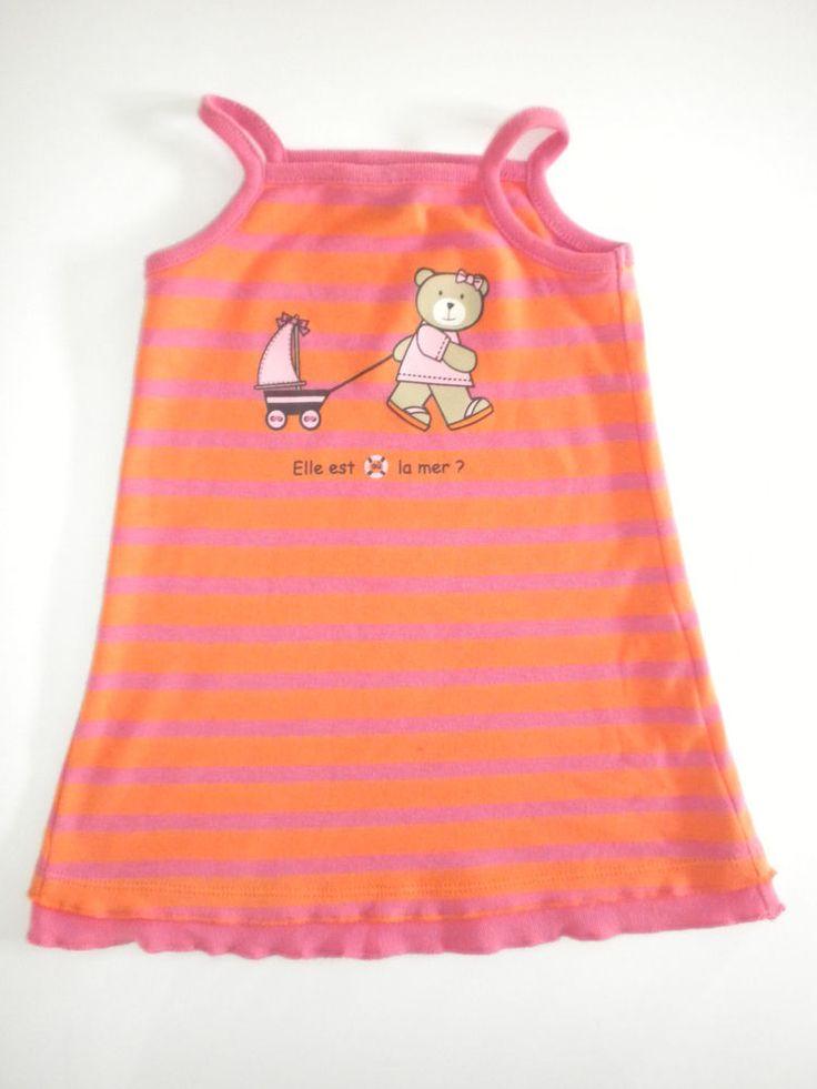 Robe 6 mois Elle est où la mer bébé fille rayé rose orange à bretelles plage été