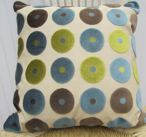 Throw Pillow--Lime, Light Blue, Dark Blue and Brown. Room ideas Pinterest Blue Green, Dark ...