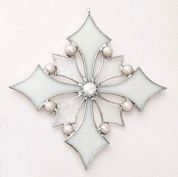 This is the second snowflake of the season! A frosty glue chip clear and a snow white stained glass make up the lovely Victorian style