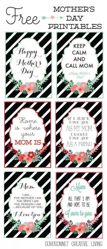 free mothers day printables mother's day cards and prints to frame - Sohosonnet Creative Living