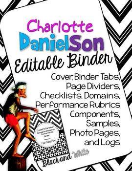 Charlotte Danielson Editable Binder Organizer: Black and White