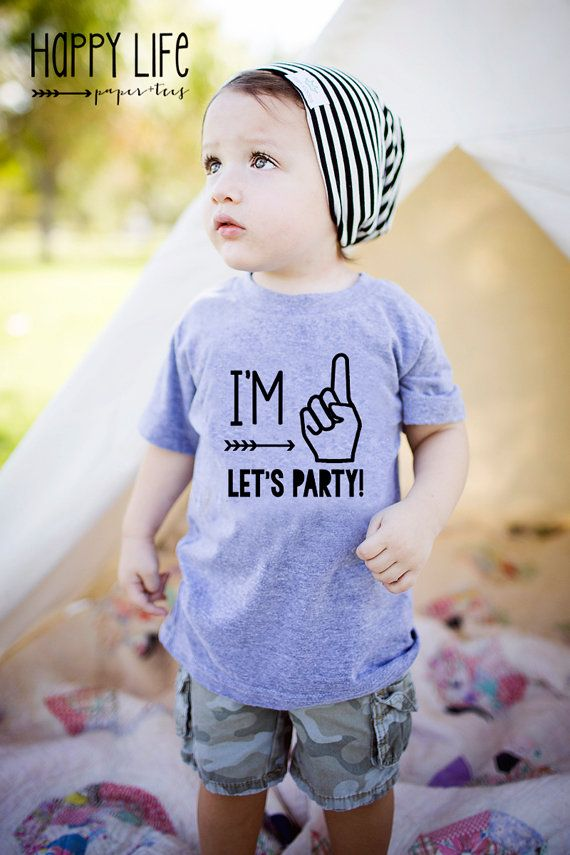 First Birthday Shirt, First Birthday, I'm One Let's Party Birthday Shirt, Boys…