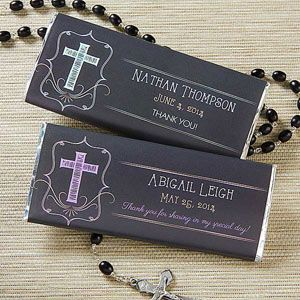 "I love these candy bar wrappers! They're perfect for first communion or confirmation! It's the ""Blessed Day"" design and it can be personalized in your choice of color and any message ...great first communion party favor or any religious party favor really! This chalkboard design is beautiful, too! #FirstCommunion #Confirmation #PartyFavor"