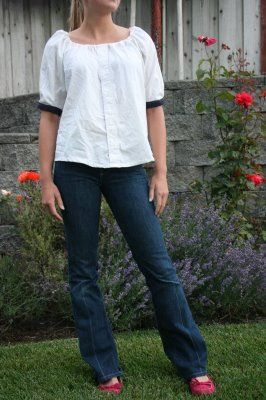 Peasant Blouse from a men's shirt - This is so easy and awesome.  If, like me, you are fluffier than your hubby you can buy shirts at the mission or consignment shop or on a really good sale.  I can't wait to try this !