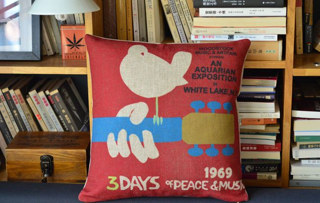 1969 Woodstock Music Linen Throw Pillow Case Bird On Guitar Poster Cushion Cover