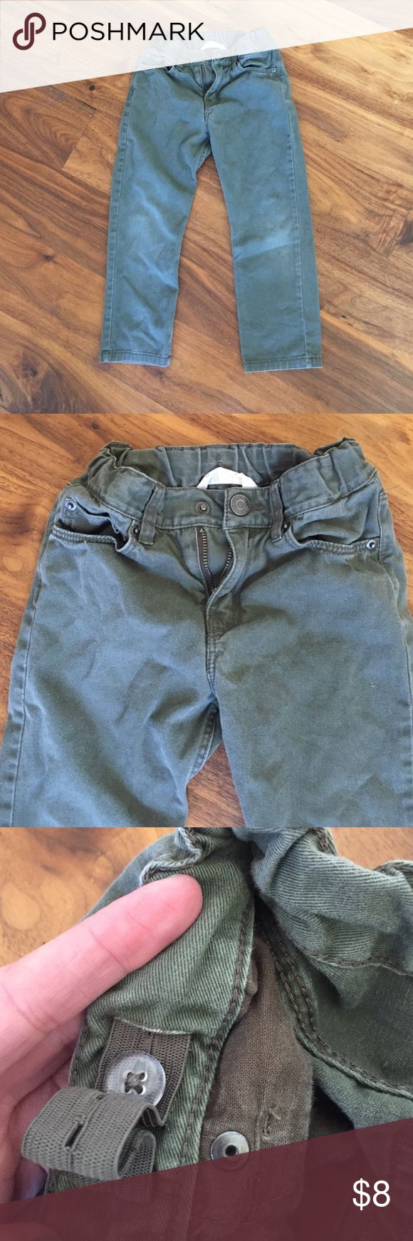 Boys H&M skinny jeans Good condition. There is tiny bit of added wear on the knees but was already some when bought which was style of the pants. Super cute fit. Adjustable waist. These are an olive/khaki color. H&M Bottoms Jeans