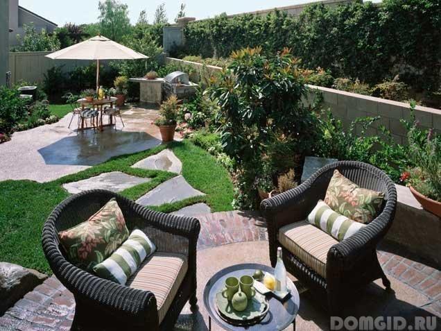 Внутренний дворик патио в ландшафтном дизайне приусадебного участка, варианты оформления внутреннего дворика