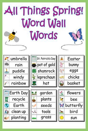 30 Spring Word Wall Words Spring words Preschool word
