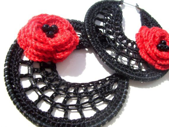 Red flower flamenco hoops with beads by BohemianHooksJewelry, $15.00