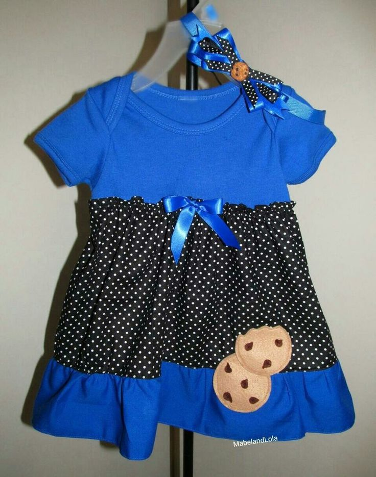 $24.99 ebay Cookie Monster Themed Birthday Party Outfit Girls Onesie Dress WITH Headband 1st Sesame Street