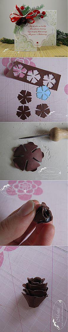 Как сделать шишку из бумаги для скраповой открытки