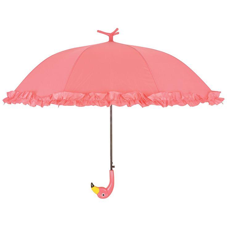 Nagy méretű, fodros szélű flamingós esernyő.Automata nyitással, fekete színű fém szerkezettel és flamingó fej markolattal ellátva.