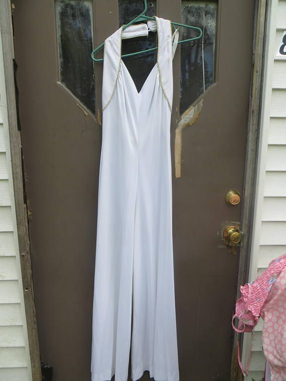 80s sexy white with gold beading   nylon open back palazzo