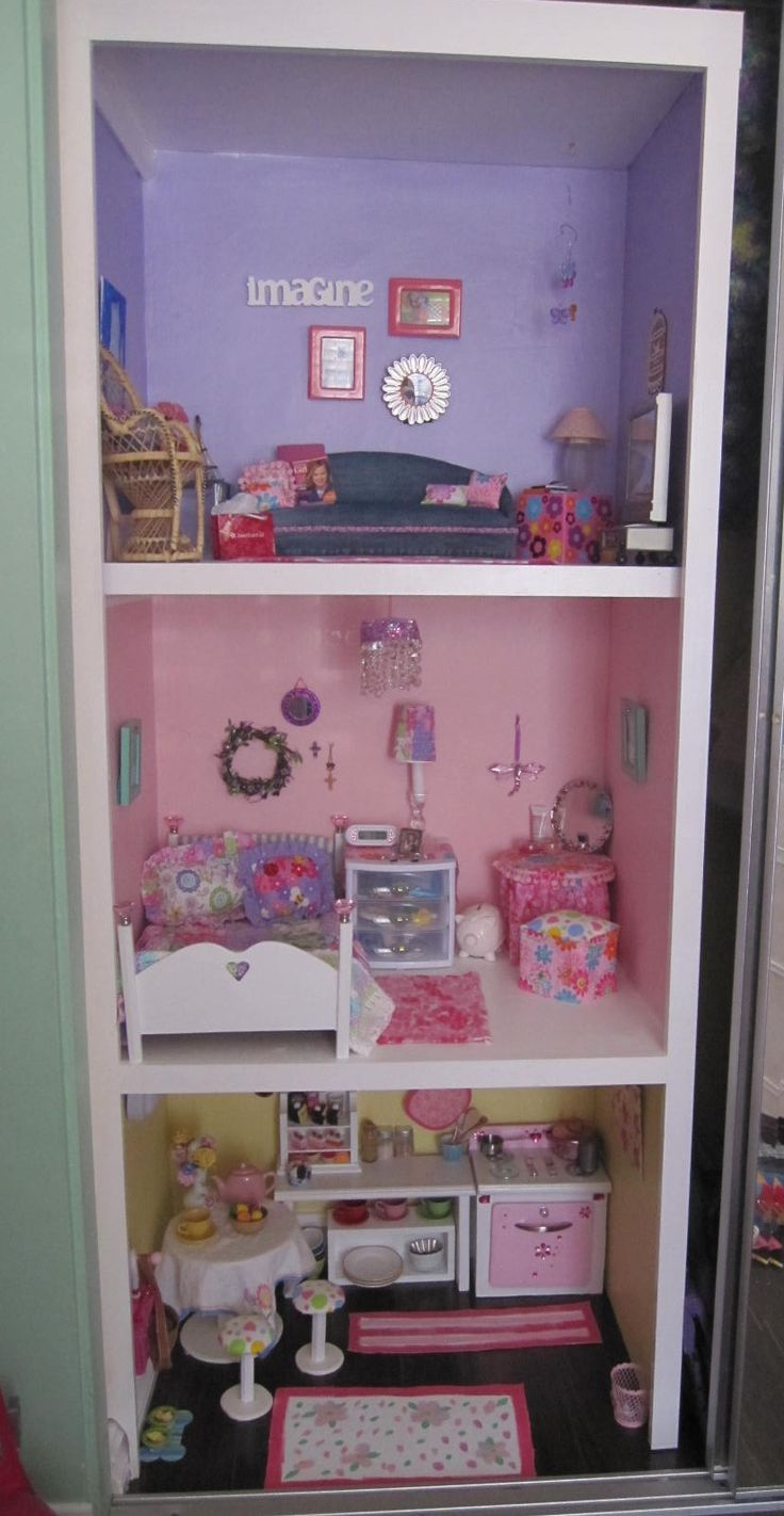american girl doll house in the closet..... Our American Dolls: