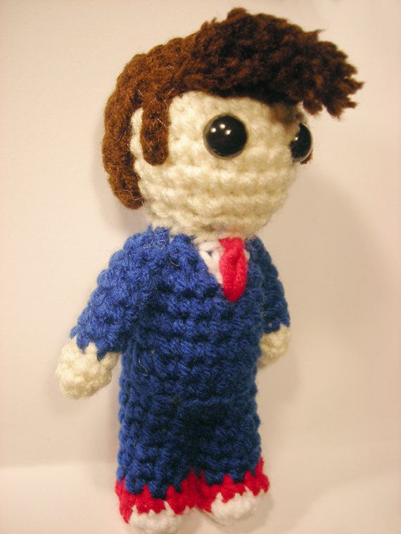 Doctor Who 10th Doctor mini amigurumi. $20.00, via Etsy.