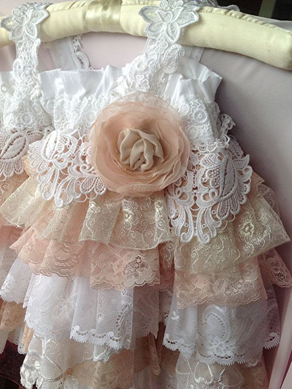 Flower Girl Vintage Lace Dress Wedding Birthday by Babybonbons