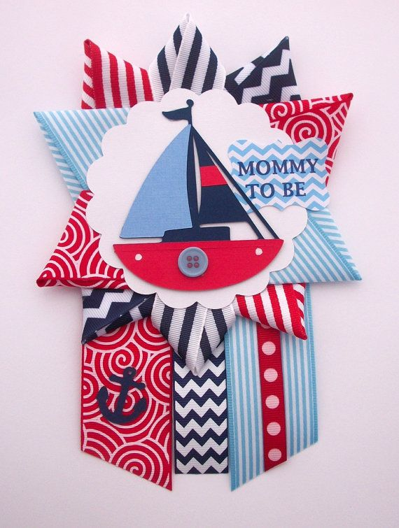 Nautical Baby Shower Corsage – Red, White, and Blue Sailboat –  Anchor Ahoy Mommy To Be Mum –  Ready