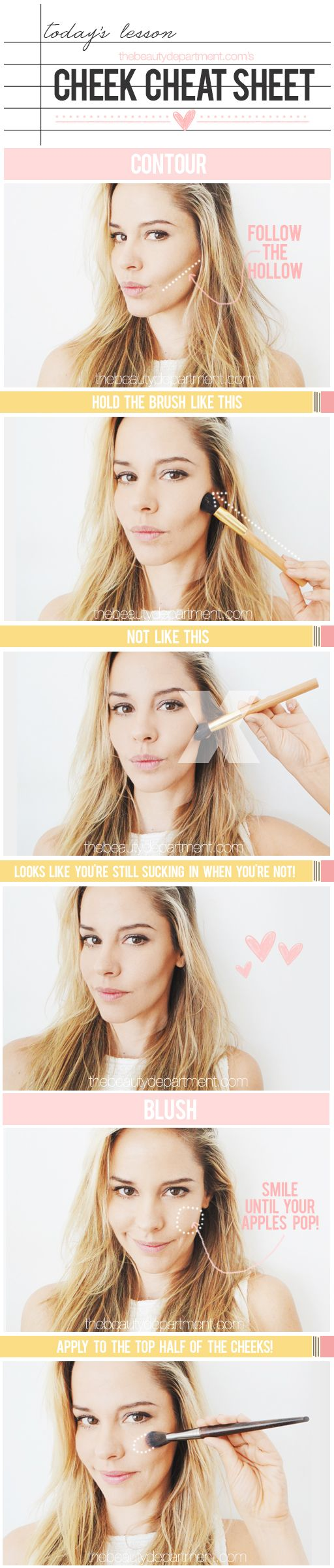 Blush and face contouring keeps the attention where you really want it in a photograph: eyes and mouth.  TBDCheekCheatSheet