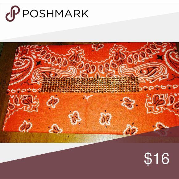 Custom clutch 100% Bandana clutch handmade item.  Brandnew. Snap fastner. Hand held clutch animal print inside Bags Clutches & Wristlets