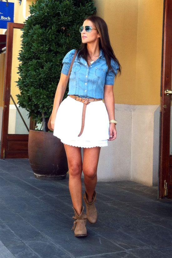 Falda blanca+Camisa jean