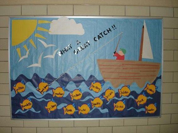 Fish theme bulletin board.