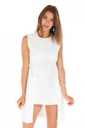 La Poudre Beyaz Asimetrik Elbise Lidyana