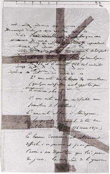 A photograph of the letter used to convict Alfred Dreyfus of treason.