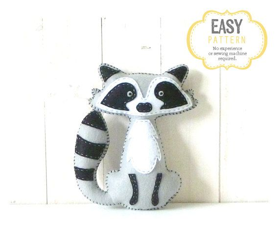 Raccoon Stuffed Animal Pattern Felt Hand by LittleSoftieShoppe