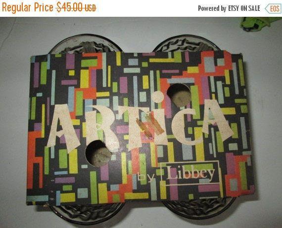 MARCH SALE Rare Mod Libbey Artica Rock Tumblers In Original Packaging Great Modern Artwork Retro 1960s