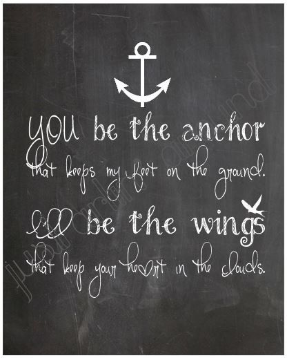 You be the Anchor... Chalkboard Art Print 8x10 by JustArtinAround