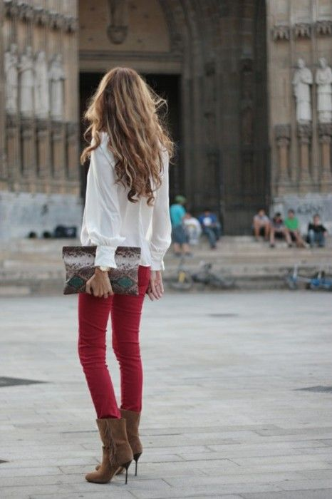 Hawt.: Fashion, Red Skinny, Style, Red Jeans, Outfit, Fall Winter, Red Pants