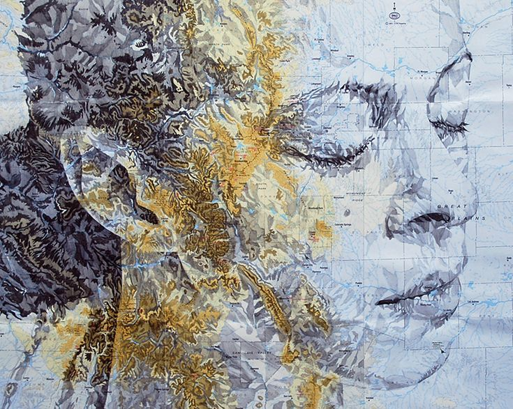 Elaborate New Portraits Drawn on Vintage Maps by Ed Fairburn http://www.thisiscolossal.com/2014/01/new-portraits-drawn-on-maps-by-ed-fairburn/