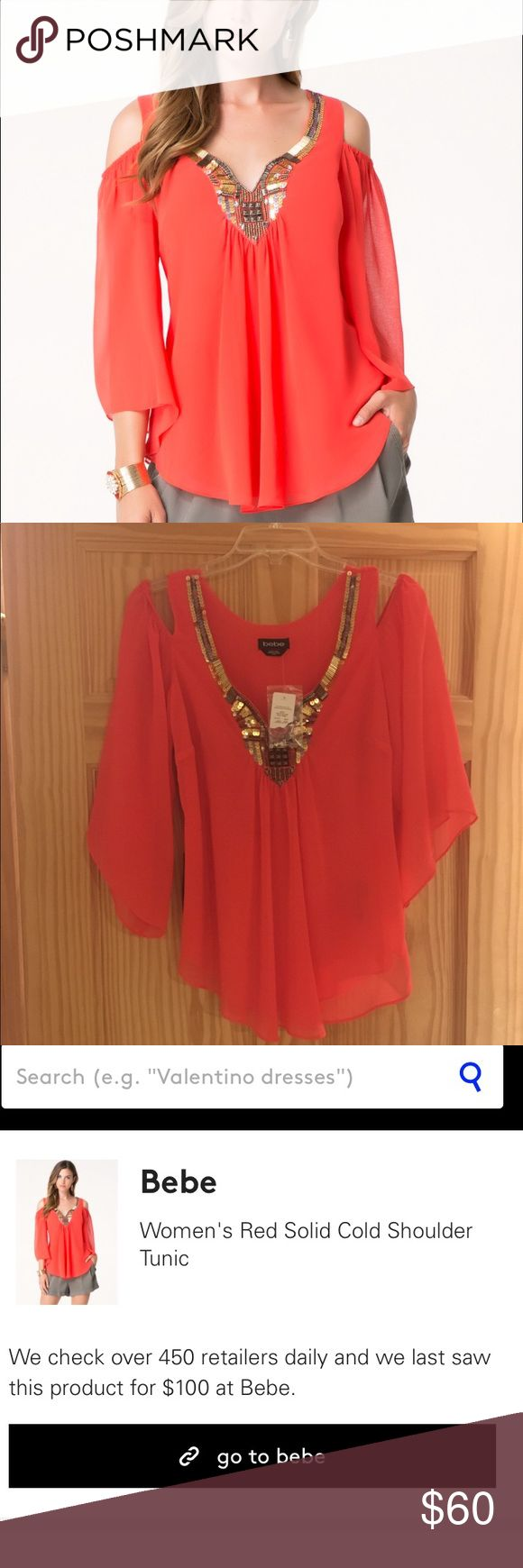 Women's red solid cold shoulder tunic Bebe brand. Stunning light, gorgeous shirt with shoulder exposure and statement piece necklace lining. Flower. NWT. Never been worn. Size xs bebe Tops Blouses