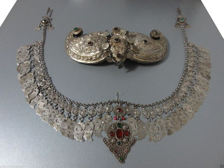 Macedonian silver buckle and breast ornament (with three hooks to attach it on the jacket or robe.  Late-Ottoman era, end of 19th century.