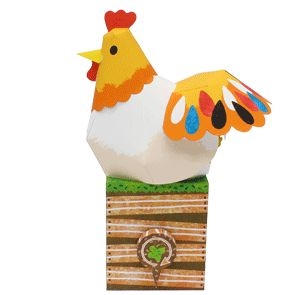 Chicken And Newborn Baby Chick Automata Papercraft - by Canon   ===           What a funny and very unusual paper model by Japanese site Canon: the Chicken and Newborn Baby Chick Automata Papercraft!
