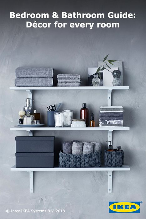 Small-space bathrooms are the perfect place for vertical storage. Style shelves with coordinating colors for a sleek, clutter-free look.