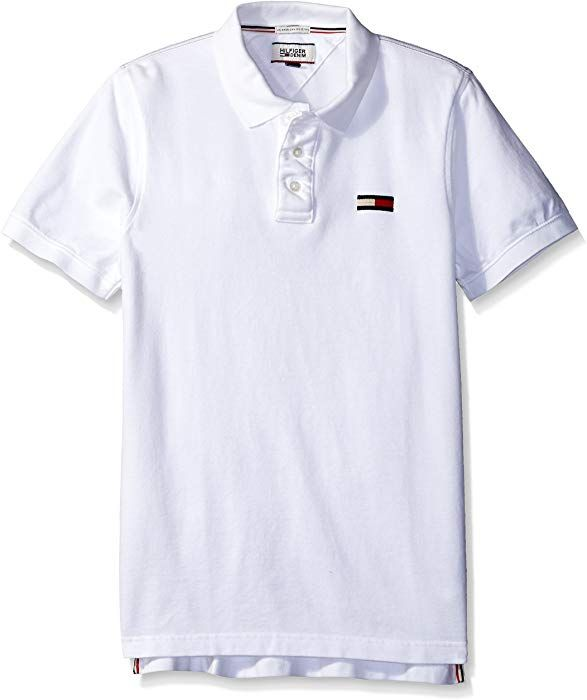 fe9a3d08 Tommy Hilfiger Denim Men's Basic Big Flag Polo Short Sleeve Classic White,  Large at Amazon Men's Clothing store: | All t shirts | Hilfiger denim, Polo,  ...