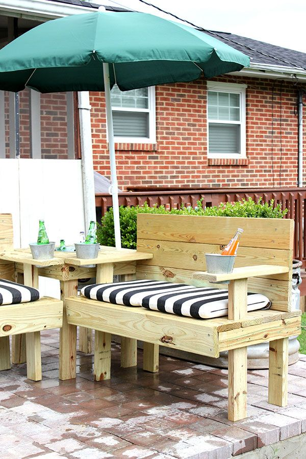 DIY Outdoor Sectional With Built In Drink Coolers U0026 Umbrella