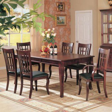 The English Bay Leg Dining Room Furniture Set by True Contemporary features one 18-inch leaf. It creates a sophisticated place to dine with family and friends. Enjoy the inviting atmosphere this table adds to your dining room with its dark cherry finish and subtly curved legs. #Furniture #DiningTable #Formal #Classy  #modern