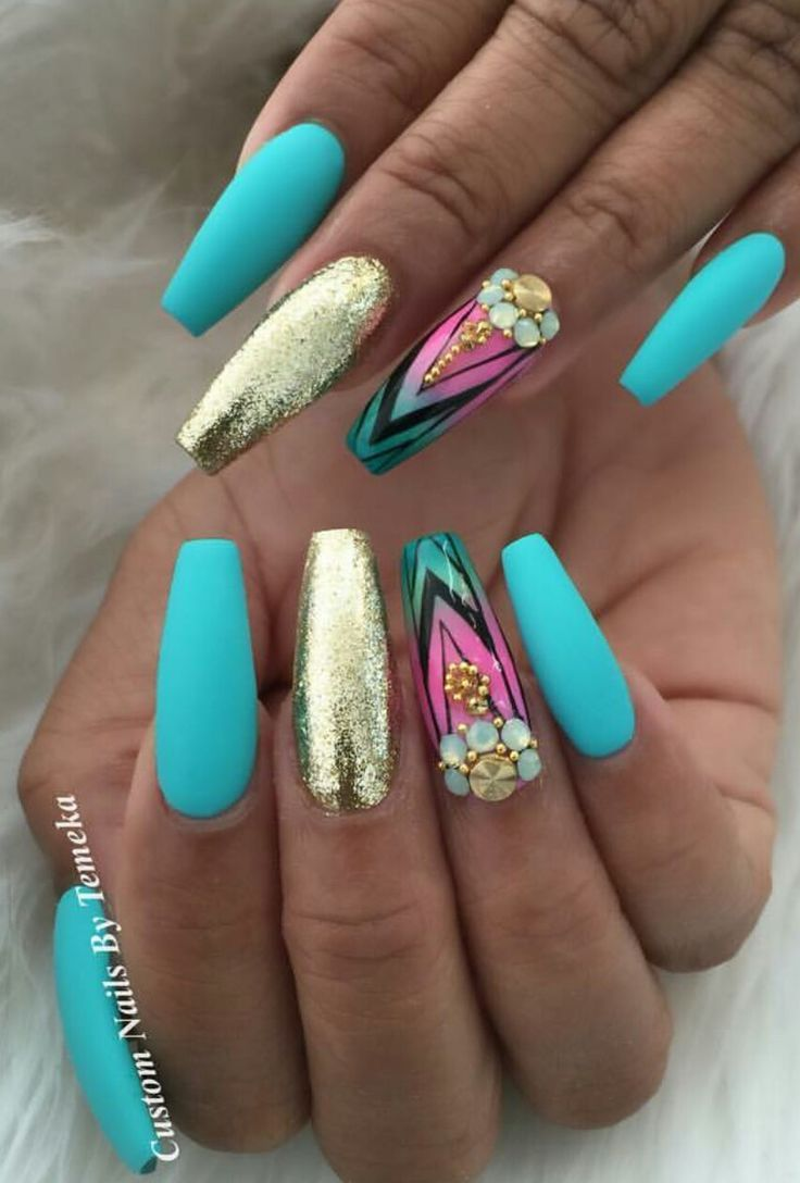 Turquoise blue matte gold nails design nailart