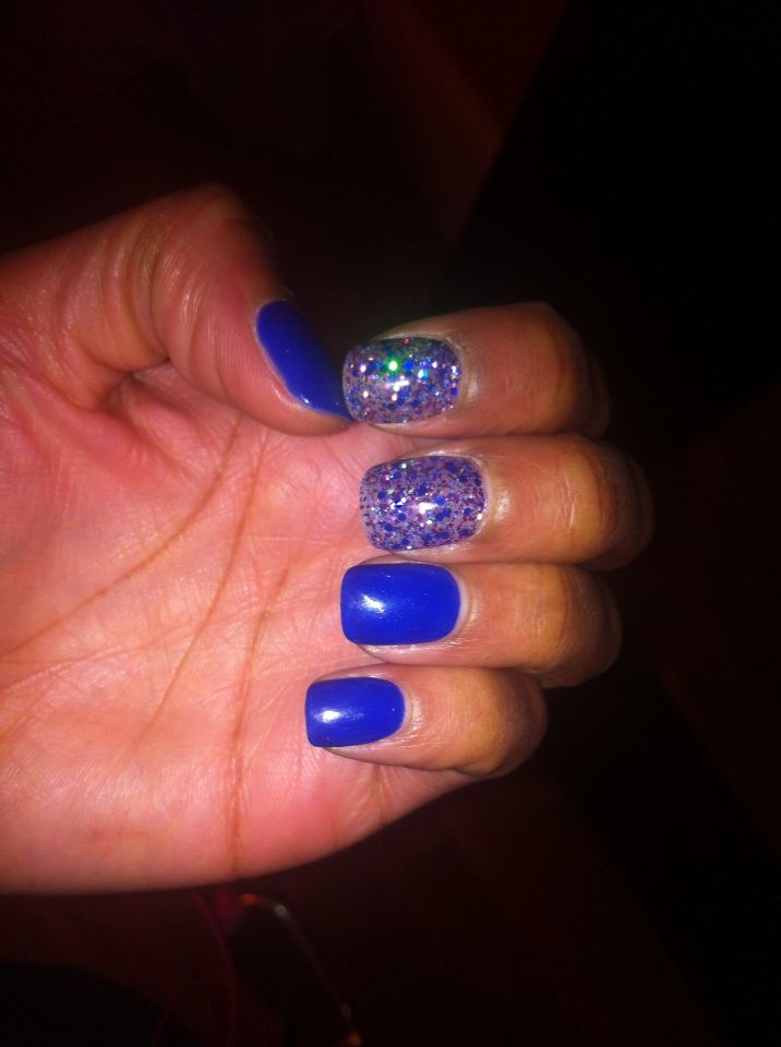 Cobalt blue SNS nails Powder Acrylic