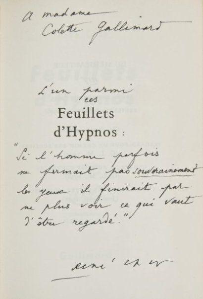 RENÉ CHAR FEUILLETS D'HYPNOS Gallimard, coll. «Espoir», 1946