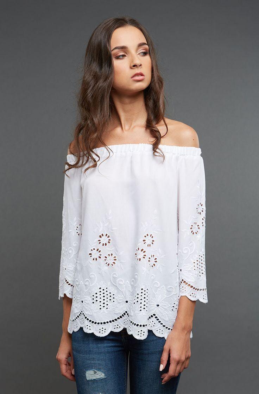 Белая блуза из прошвы Gee!