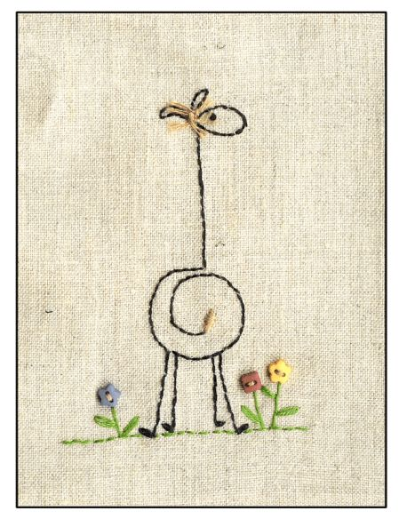 Keelin! ...giraffe embroidery (Love this simple pattern! Would be cute as a drawing also.) 은숙 최 야생화자수