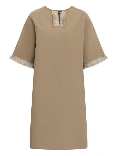Платье из льна и хлопка с бахромой - Общий вид