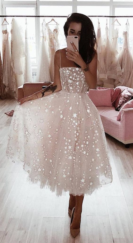 A Line Spaghetti Straps Tea Length Pearl Pink Prom Dress With Beading – dresses