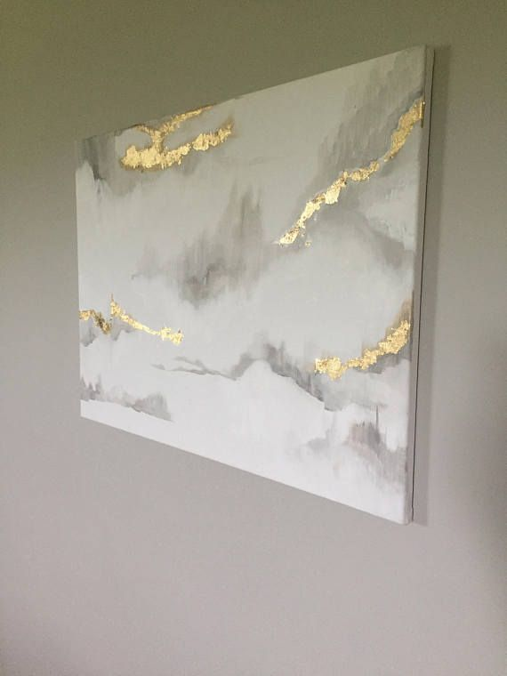 Marble inspired painting white grey and gold leaf painting